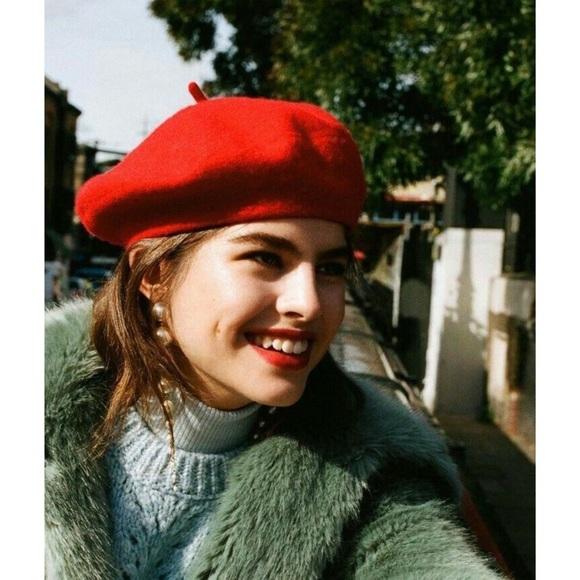 415df1a5deb6d Accessories - Cherry RED Felt WOOL BERET HAT cap FRENCH paris